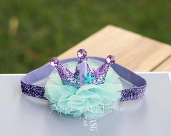 First Birthday Mermaid Crown,Baby Birthday Mermaid crown,First Birthday Mermaid Crown,Mermaid Birthday Crown, Baby Mermaid birthday crown