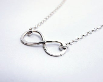 Infinity Necklace, Sterling Silver - Eternity Simbol, Infinite Love, Friendship, Anniversary Wedding, Bridesmaid Gift, Delicate Fine Jewelry