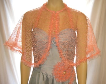 Handmade pink lace sheer capelet shrug shawl pink lace bolero shrug, bolero wedding shrug shawl size small to xlarge, womens pink lace shrug