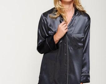 100% Pure Silk Shirt Dress - Handmade in our Atelier - Women's Nightshirt - Sleepshirt - Stylish and Feminine Design - Midnight Grey
