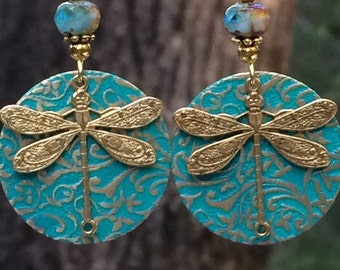 Golden dragonfly earrings, Dragonfly earrings, unique dragonfly earrings, dragonfly jewelry, nature inspired