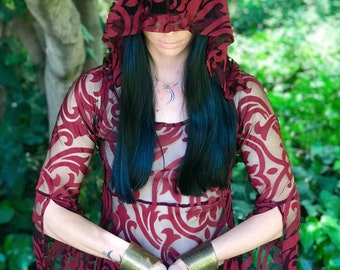 "NEW: The ""Red Queen"" Tunic Dress with Hood in Red & Black Baroque by Opal Moon Designs (size S-XXL)"