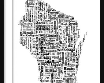 Wisconsin State Map Typography Map Tyographical Map Poster Print