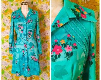 70s Vintage Green Floral Mini Shirtdress Medium