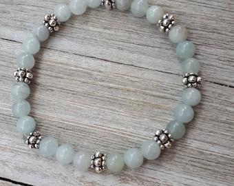 Natural Aquamarine and Pewter Bracelet - Milky Blue Aquamarine Beaded Bracelet - Semi Precious Stone Elastic Bracelet - March birthstone