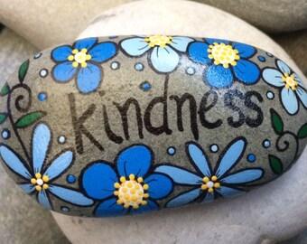 Happy Rock - KINDNESS - Hand-Painted River Rock Stone - blue daisy cornflower pansy petunia