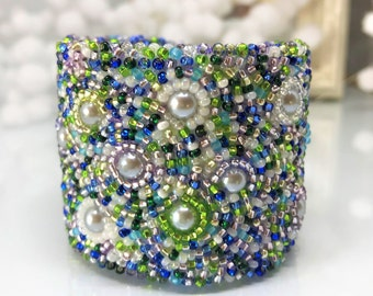 Bead Embroidered Cuff Bracelet, Seed Beads Bracelet, Seed Bead Mix Bracelet, Embroidered Cuff, Blue. Green, Sapphire, Emerald, Gift For Her