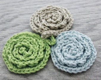 Reusable Crochet Rose Facial Pads - Set of 3 - Flower Face Scrubbers - Cotton Face Scrubby Set - Flower Face Scrubbies - Reusable Face Cloth