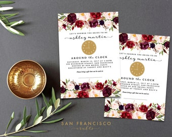 Around the Clock Bridal Shower Invitation - Floral, Marsala, Blush Pink, Invite, Printable - HOLLY Collection - PDF or JPG