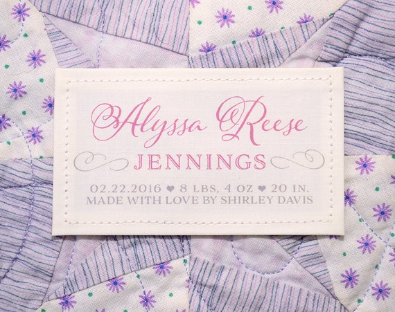 Personalized Quilt Or Baby Blanket Label Patch Baby Birth