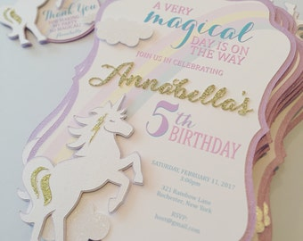 Unicorn Birthday Invitation, Handmade Invitation, Magical Unicorn