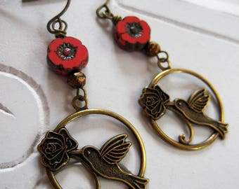 Hummingbird Earrings, Czech Flower Bead, Botanical, Antique Brass, Nature, Coral, Redpeonycreations
