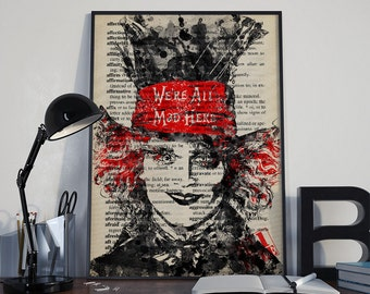 The Mad Hatter Black and White Art Print Alice In Wonderland Watercolor Painting Illustration Home Decor Wall Art Fine Art Print Gift