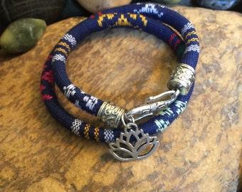 Namaste Wrap Bracelet, Graduation Gift, Lotus Bracelet, Mother's Day Gift, Yoga Jewelry, Coworker Gift, Bohemian Earth Designs