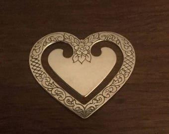 Silver Heart Bookmark  Hallmarked Birmingham M Kamin