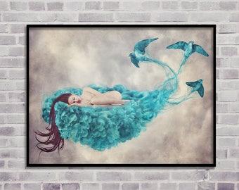 blue clouds print, woman art print, digital prints, photography download, woman digital print, woman wall art, birds digital print