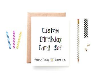 Birthday Card Set - Variety Pack Birthday Cards - Custom Set of Birthday Cards - Set of 8 Cards