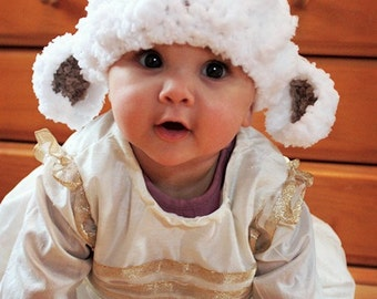 2T to 4T Childrens Lamb Hat, Easter Toddler Hat, Crochet Sheep Beanie, Farm Animal Hat, White Brown Easter Lamb Costume, Toddler Prop