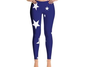 Women's Leggings, Stars Leggings, Blue Leggings for Her, Women's Clothing, Workout Clothes, Fitness Leggings, Cool Gym Wear, Stars Design