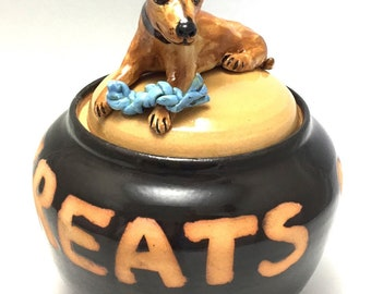 Dog Treat Jar with Brown Dog and Toy