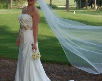 wedding veil  Chapel Simple abusymother Single layer  white, ivory or diamond