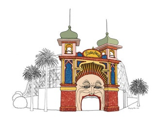 FREE SHIPPING Luna Park Archival Print