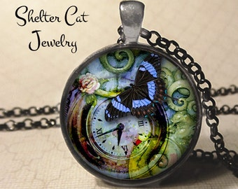 "Steampunk Purple Butterfly Necklace - 1-1/4"" Circle Pendant or Key Ring - Handmade Wearable Photo Art Jewelry - Bug, Clock Time Floral Gift"