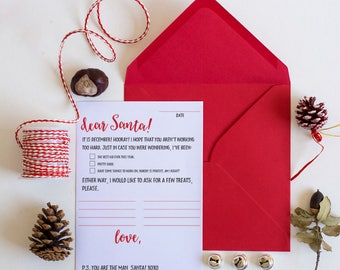 Printable Letter to Santa - Christmas Family Fun - Christmas Printable - Instant Download