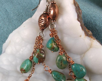 Turquoise Earrings ~ December Birthstone ~ Turquoise & Copper Earrings ~ Gemstone Earrings ~ Turquoise Jewelry