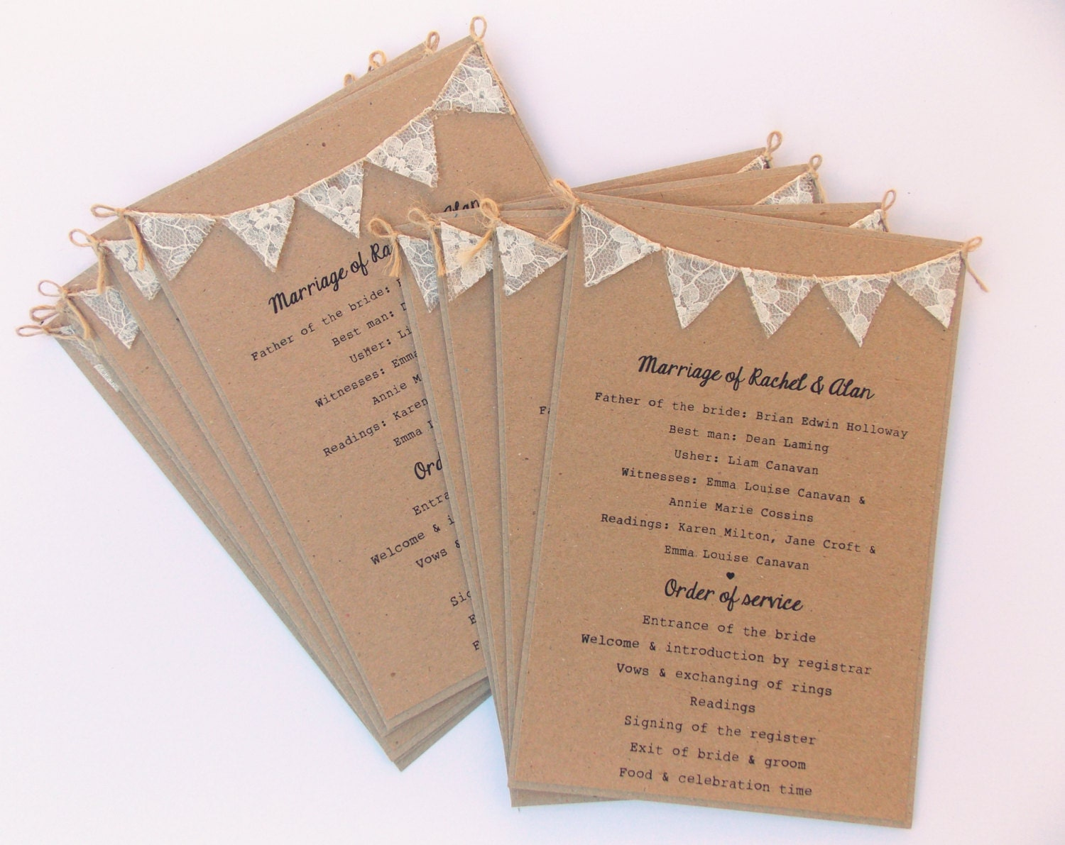 Order of Service Cards Rustic wedding Kraft card with lace