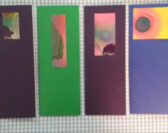 Original Art Notelets. Spray Paintings mounted on Card.4 in a pack.