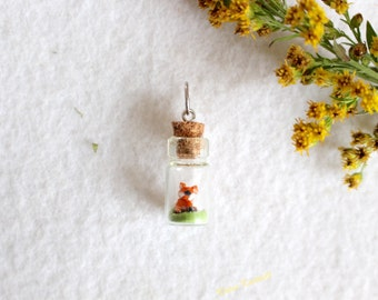 Fox Charm Miniature Glass Bottle Pendant polymer clay jewelry