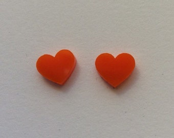 Large orange Acrylic / perspex laser cut earrings heart studs