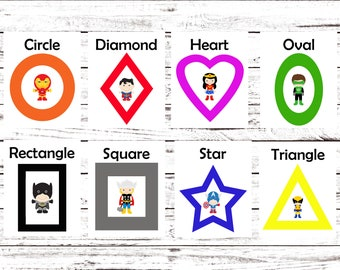 Printable Flash Cards, Learning Toys, Superhero, Printable Shape Cards, Kindergarten, Preschool, Wall Cards, Instant Download