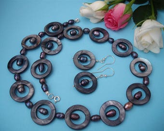 Stormy Sky - necklace and earrings made of pearls, nacre and silver