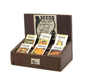 Dollhouse Seed Pack Store Display, General Store, Country Store, Grocery Store, Miniature, Hobby, Scale Model, Old Stock, 1:12 Scale