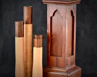 Reclaimed Smoke House Cherry, Local Maple, and Local Walnut Stand with Vases