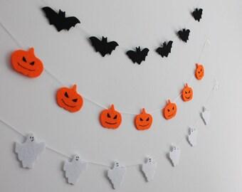 Halloween Garland Pumpkins Bats Ghosts Felt Wall Decor