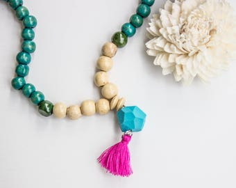 Green Necklace with tassels