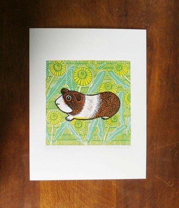 Guinea Pig, Orange, Original Linocut Print, Signed Open Edition, Free Postage in UK, Hand Pulled, Printmaking,