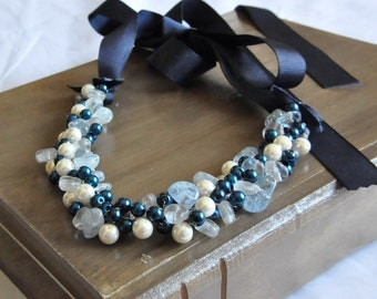 Beach Wedding Jewelry, Nautical Pearl Necklace, Midnight Blue , Bridal Jewelry,Silver Navy Wedding Theme, Beaded Necklace Chunky Necklace
