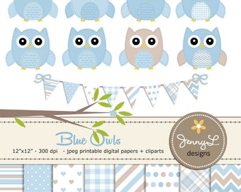Blue Owls Clipart and Digital Papers Set, Baby Blue Baby Shower Stitched Owls, Tree Branch, Birthday Invitation Nursery Digital Scrapbooking