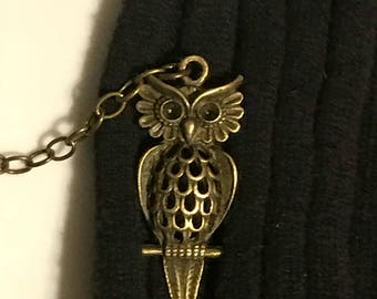 Sweater Pins: Owls with Tail Feathers on a Branch In Bronze