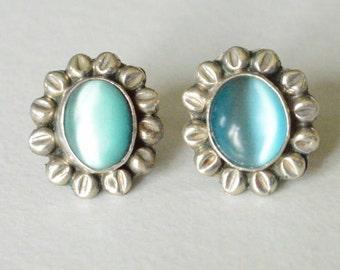 Vintage Sterling Silver Blue Gemstone Flower Pierced Post Earrings