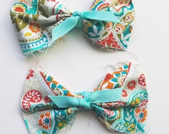 Country Cottage Fray Hair bow Set.