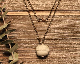 Porcelain Acorn Pendant Necklace