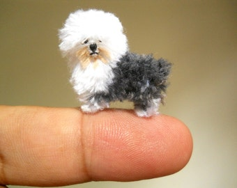 Old English Sheepdog - Tiny Crochet Miniature Dog Stuffed Animals - Made To Order
