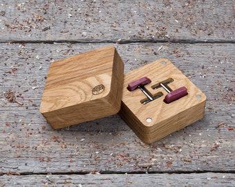 Gift box Wood Cufflinks, Rounded Square wooden cuff links, free shipping cufflinks, boyfriend gift, cufflinks for men, groomsmen monogrammed