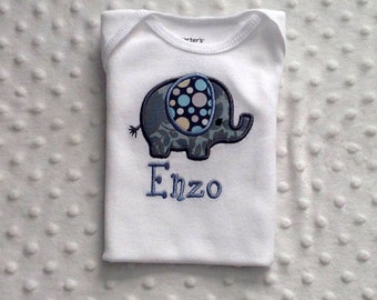 Baby Boy  Appliqued Elephant Bodysuit in Michael Miller Zoology