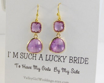 Lavender Earring,Gold And Purple Earring,Purple Earring,Lavender Earring,Bridesmaid Earring,Gold Earring,Crystal Earring,Purple in handmade